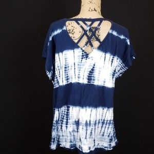 Lane Bryant tie dye blue criss cross back tee i138